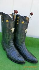 """LONGHORN ALLIGATOR CROCOC INLAY CUT OUT """"BULL"""" CACTUS """"STARS"""" WESTERN BOOTS 13 D"""