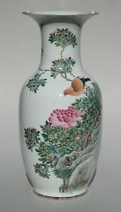 Chinese Famille Rose Vase, Birds And Florals, 19th Century.