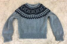 Vintage Icelandic Style Fair Isle Sweater Home Hand Knit Nordic Crew