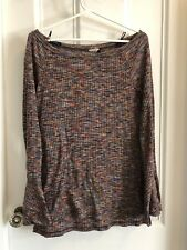Anthropologie Boat Neck Rainbow Knit Bell Sleeve Blouse Medium M