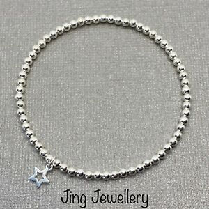 Sterling Silver Beaded Stretch Stacking Bracelet Mini Star Charm Handmade 925