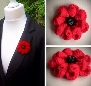 Knitted Crocheted Folded 3D Petal Red Poppy Brooch Charity 10% Remembrance