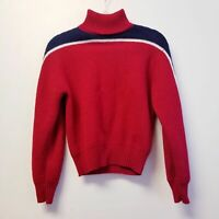 Americana vintage turtleneck sweater block color Red Blue pullover small Womens