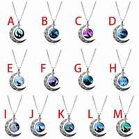 Fashion Crescent Moon Pendant Necklace Howling Wolf Cabochon Glass Chain A3E3
