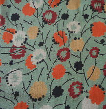 Antique Art Deco Floral Crepe Fabric ~ Green Orange Black~ dress blouse projects