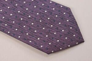 Ermenegildo Zegna NWT Neck Tie In Purple With White & Blue Dots 100% Silk