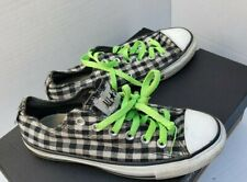 Converse All Star Shoes Sneakers Black White Check Neon Green Laces 7 37.5