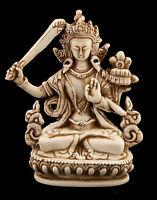 Manjushri Soprammobile Tibetano IN di Resina Budda 11 CM Bianco Antico - 6037