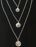 Medallion Coin Layered Necklace Women Silver Tone Layers Pendant