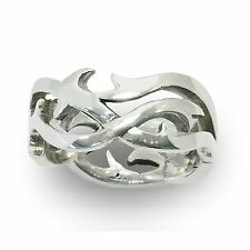 Men's Tribal High Polish Ring / Band in .925 Sterling Silver Brand New Size 11.5