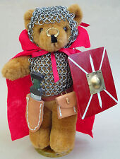 "Teddy Bear Knight 12"" Steel Chainmail Armor Sword Shield Leather Scabbard Purse"