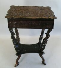 Profusely Carved 19th C. Anglo Indian Carved Ebony Sewing Writing Table  Antique
