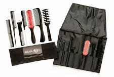 Head Jog 7-Piece Professional Hairdressers Brush Black Comb Tool Roll Set