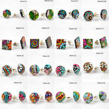 Hand Painted Stirling Silver Earrings / studs. 50 unique designs. festival boho