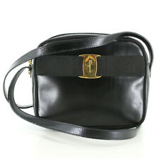 Salvatore Ferragamo Vintage Leather Mini Shoulder Bag in Black