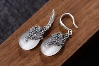 A01 Ohrring Tropfen aus Opal weiß Blüten aus Sterling Silber 925 und Markasit