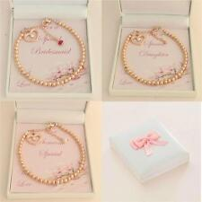 Rose Gold Beads Balls Bracelets,Gift Boxed for Bridesmaid, Daughter,Mum etc
