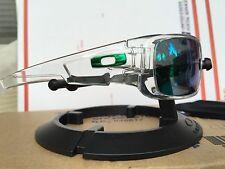New oakley crankshaft Polished Clear / Jade iridium Lens & Chrome Green Icons