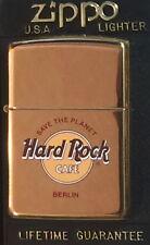 "Hard Rock Cafe BERLIN Gold ZIPPO Lighter NEW w/ Red Sticker & Box ""STP"" HRC LOGO"