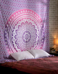 Indian Wall Hanging Pink Ombre Wall Tapestry Cotton Queen Size Bedsheet Decor
