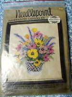 NIP Vintage Elsa Williams Needlepoint Kit Floral Basket KPN568 Linen & Wool Yarn