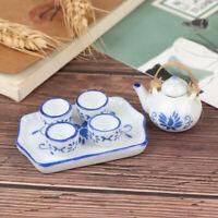 6Pcs Dollhouse Miniature Dining Ware Blue Porcelain Tea Set Dish Cup Plate  ATA