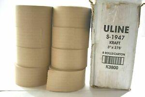 """Uline S-1947 Kraft 3"""" x 375' K3800 Economy Reinforced Tape 8 Rolls 1 Carton New"""