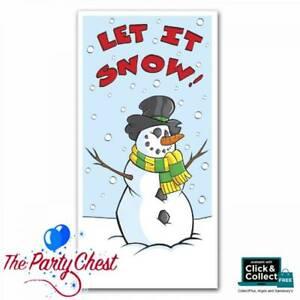 """60"""" LET IT SNOW SNOWMAN DOOR COVER Christmas Door Poster Party Decoration 20011"""