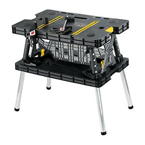 Keter Folding Portable Workbench Sawhorse *COMES WITH 2 CLAMPS* Worktable 197283