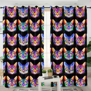 Purple Tabby Abstract Cat Pet Animal Window Living Room Bedroom Curtains Drapes