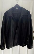 Genuine Black Leather Jacket  Lined Winter Coat Men's Large