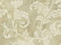 Wallpaper Designer Acanthus Leaf Scroll w Gold Glitter on Tan Faux Crackle