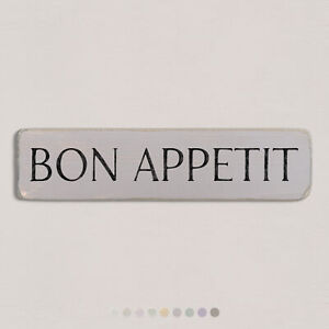 BON APPETIT Vintage Style Wooden Sign. Shabby Chic Retro Home Gift. S2