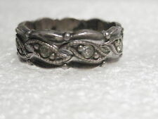 Vintage Sterling Silver Clark & Coombs Wedding Band with Clear Stones, size 7