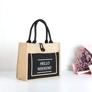 JUTE HESSIAN Reusable Shopping Bags Tote Eco Friendly Linen Shoulder Bag Large