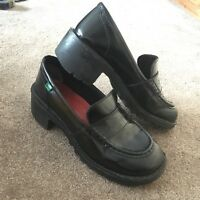 VINTAGE KICKERS | UK 9 | Black Leather Loafers Shoes | Spice Girls | 90s | Heel