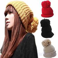Womens Slouch Knit Cap Oversized Cuffed Warm Wool Beanie Crochet Ski Bobble Hat