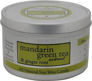 Aroma Paws Tin Candle All Natural Soy Mandarin Green Tea 8oz
