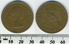 New Zealand 1957 - 1 Penny Bronze Coin - Queen Elizabeth II - Tui Bird