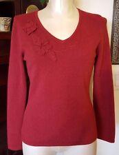 CLASSIQUES ENTIER 100% Cashmere Deep Red V Neck 3D Flowers Sweater - sz S