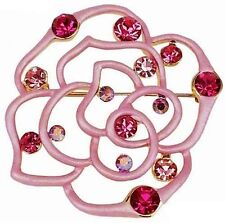 RUCINNI  Pink Rose Brooch with Swarovski Crystal and 20K Gold Plated