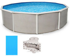 "Belize 18' Round 52"" Deep Above Ground Pool w/ Solid Blue Overlap Liner"