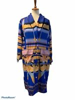 MISSLOOK Aztec Tribal Print Southwestern Large Long Duster Jacket Cardigan Blue