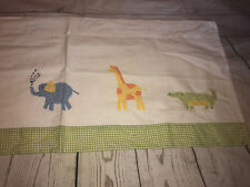 Pottery Barn Kids Gingham Valance Zoo Animal Elephant Giraffe Frog Chicken