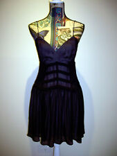 "BNWT ""BARDOT"" SPAGHETTI STRAP CHIFFON FLOWY A-LINE COCKTAIL DRESS BLACK SIZE 10"