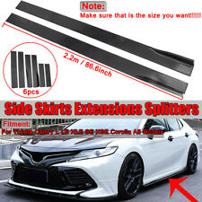 2.2M Universal Side Skirts Extension Rocker Panel Splitter For Honda BMW Toyota
