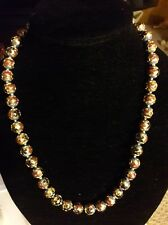 """Vintage Chinese Cloisonne Gold Gilt 22"""" hand knotted beaded necklace"""