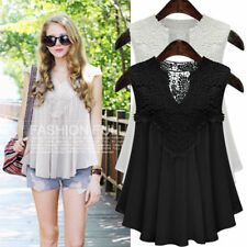 UK New Womens Sleeveless Lace Floral Ladies Casual Loose Blouse T Shirt Vest Top