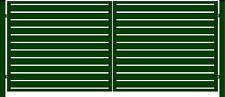 Gartentor Tor 2 Flügelig mit Füllung 350x150cm Schloß und Klinke grün RAL6005