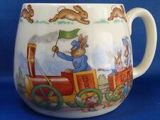 Royal Doulton Bunnykins Child's Mug Cup Porcelain Bunnytown Train Rabbits Vtg